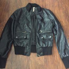 Paris blues black bomber Paris blues black faux leather bomber jacket with button and zipper pockets Paris Blues Jackets & Coats