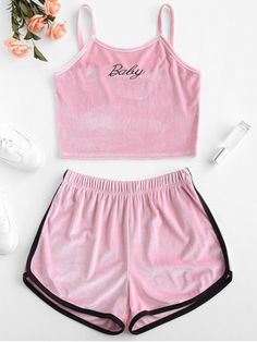 Velvet Embroidered Top And Shorts Set – Mode für Frauen Pajama Outfits, Crop Top Outfits, Short Outfits, Summer Outfits, Cute Outfits, Pink Outfits, Crop Top And Shorts, Emo Outfits, Winter Outfits