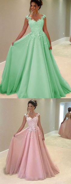 This dress could be custom made, there are no extra cost to do custom size and color, Green tulle lace round neck A-line long prom dresses with straps Evening Dresses, Formal Dresses, Wedding Dresses, Bridesmaid Dresses, Straps Prom Dresses, Make Your Own Dress, Groom Dress, Tulle Lace, Marie