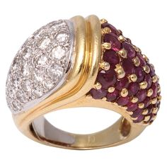 Ruby And Diamond Bombe Style Dome Ring, ca. 1960s