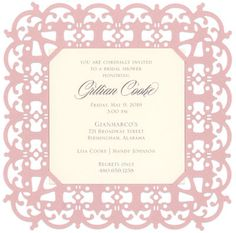Pink Blush Filigree Die-cut Frame Invitations