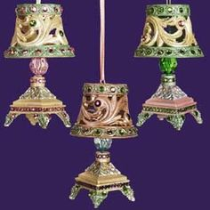 victorian beaded ornaments | ... .com - Gold Victorian Jeweled And Beaded Mini Lamp Christmas Ornament