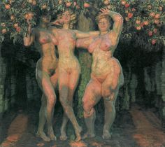 frantisek kupka, autumn sun, three goddesses, 1906