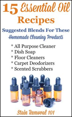 15 essential oil recipes and suggested blends for use in homemade cleaning products. There are good blends for all purpose cleaners dish soaps floor cleaners carpet deodorizers and scented scrubbing powders. There's flowery citrus herbal minty and e Essential Oils Cleaning, Essential Oil Uses, Doterra Essential Oils, Homemade Cleaning Products, Natural Cleaning Products, Natural Cleaning Recipes, Household Products, Cleaning Solutions, Cleaning Hacks