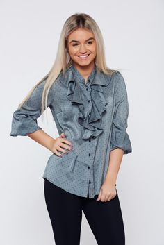 PrettyGirl grey office elegant women`s shirt with dots print, with dots print, sleeves are fastened with buttons, ruffled collar, satin fabric texture, women`s shirt, 3/4 sleeves