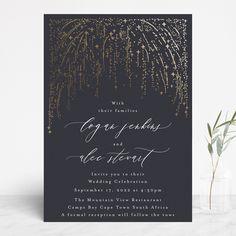 """Starry Sky"" - Bohemian Foil-pressed Wedding Invitations in Midnight by Phrosne Ras. Glamorous Wedding, Dream Wedding, Wedding Day, Wedding Dreams, Foil Stamped Wedding Invitations, Invites, Starry Night Wedding, Golden Design, Reception Card"