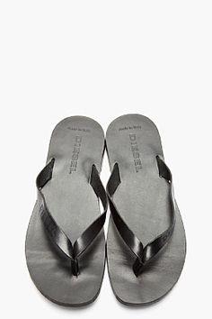 30da4782ccd DIESEL Black Leather Steven Flip-Flops Men s Sportswear