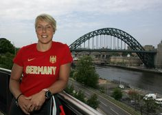 At the press conference for the European Athletics Team Championships 2013, Germany's Christina Obergföll (javelin) certainly made the most of the view on offer here at Sage Gateshead.