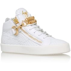 Giuseppe Zanotti Doodle High-Top Sneaker ($895) ❤ liked on Polyvore featuring shoes, sneakers, giuseppe zanotti, high top shoes, hi tops, chunky shoes and high top sneakers