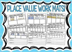 Place Value Work Mats! Great hands on support for aiding student understanding of place value. Product includes place value work mats for: 2-digit numbers, 3-digit numbers, 4-digit numbers, 6-digit numbers, and 7-digit numbers. Differentiated work mats enable students to write numbers in the chart and also write numbers in standard form, expanded form, and word form. Simply laminate and use dry erase markers to allow students to write on to the boards for fun hands on learning!