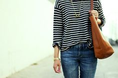 madewell, striped tee, mini coinmix necklace, transport tote, skinny jeans, billie boot