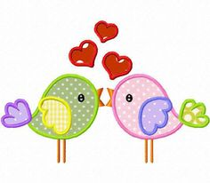 Love birds applique machine embroidery design