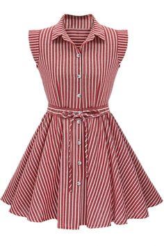 Gorgeous Button Up Printed Skater Dress - OASAP.com