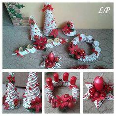 enfeites-natalinos-reciclaveis-jornal Christmas Items, Christmas Svg, Christmas Wreaths, Christmas Decorations, Xmas, Christmas Ornaments, Holiday Decor, Sun Paper, Diy And Crafts