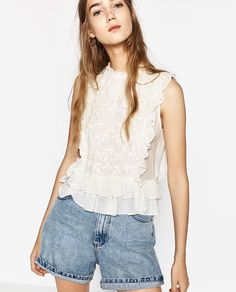 ZARA - WOMAN - EMBROIDERED FRILLED TOP