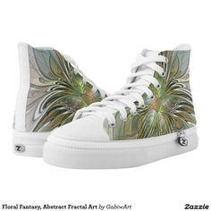 Floral Fantasy, Abstract Fractal Art Printed Shoes