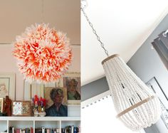 Coffe filter flower lampshade,beaded chandelier