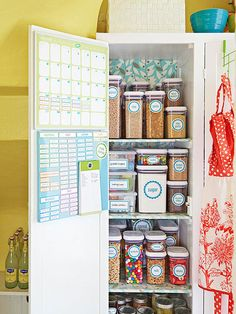Keep food organized by assigning a shelf to each group (grains, baking ingredients, snacks, etc.). Find more organization tips here: http://www.bhg.com/decorating/storage/organization-basics/free-printable-storage-labels/?socsrc=bhgpin033015prettypantry&page=9