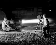 Space History Photo: The Ramjet I-40 engine is pictured in the Jet Static Lab on Oct. 23, 1946,  showing the making of high speed motion pictures of thrust augmentor flame.