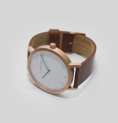 Brushed Rose / Walnut Leather watch from The Horse