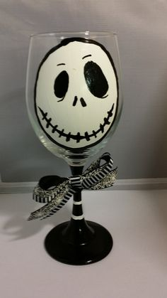 Halloween Jack Skellington Nightmare Before Christmas Hand Painted Wine Glass