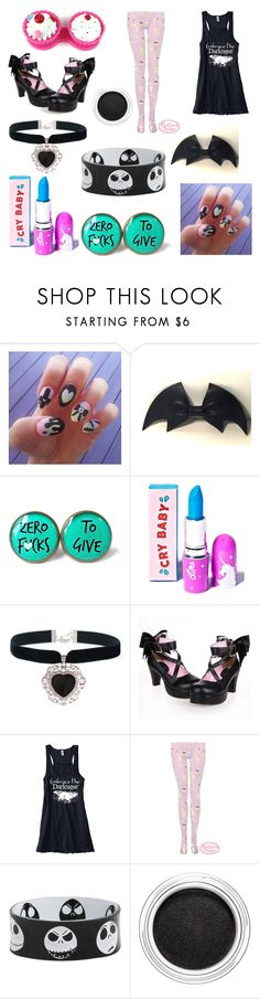 """""""Pastel Goth"""" by thelittlefanthatcould ❤ liked on Polyvore featuring cutekawaii, Cultura, Lime Crime, Hot Topic and Clarins"""