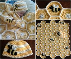 Sweet As Honey Crochet Baby Blanket and Beanie Hexagonal Honeycomb Pattern - find free patterns in our post