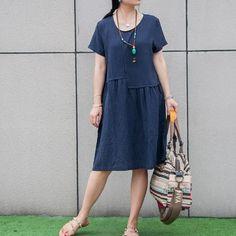 Women summer short sleeve pullover linen short dress