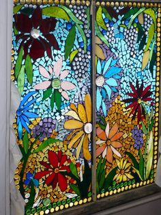 Flower mosaic on window