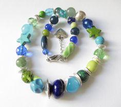 Weiteres - Edelstein-Mix-Collier grün-blau-türkis-silber - ein Designerstück von soschoen bei DaWanda