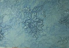 Inspiration - Tissue paper over a raised (joint compound) stencil design and a coat of metallic glaze.