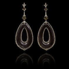 Annoushka Ebony Earrings. One of a Kind earrings in 18ct white gold with 65.77ct ebony, 3,28ct andalucite and 0.25ct brown diamonds.