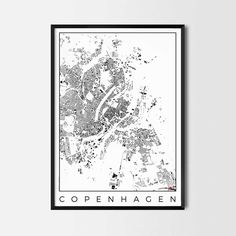 Copenhagen city map art Poster - Art posters and map prints of your favorite city. Unique design of a map. Perfect for your house and office or as a gift.
