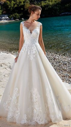 eddy k 2018 bridal cap sleeves illusion jewel sweetheart neckline heavily embellished bodice romantic a line wedding dress sheer lace back chapel train (11) mv -- Eddy K. Dreams 2019 Wedding Dresses #weddingdress