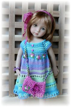 "Hand Knit Set by R M Dollfashion Cute Line for Effner 13"" Kish 14"" BJD Dolls"