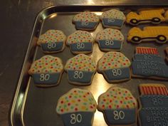 Cupcake Cookies for 80th Birthday Party.... Log House Cookies