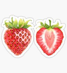 'Watercolor whale' Sticker by Evgeniia Zagreeva Strawberry Drawing, Strawberry Tattoo, Strawberry Art, Food Stickers, Journal Stickers, Printable Stickers, Cute Stickers, Strawberry Clipart, Overlays