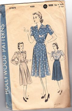 Vintage 1940s Hollywood 430 Sewing Pattern Misses' One-Piece Dress Size 16 Bust 34