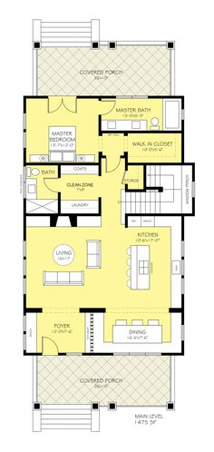 Houseplans.com Bungalow Main Floor Plan Plan #888-10