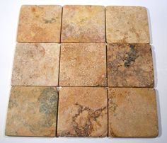 "This 4x4"" Peach Travertine Tumbled Square Tile Mosaic pattern from Carved Stone Creations has a great rustic Old World look and vibrant color.   The tile comes in 12"" x 12"" sections and is adhered to a mesh back making installation a snap. Just fill the seams with grout and wipe away the excess with a damp cloth. $1.08  Click on the image to see it in our online store."