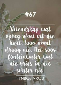 Vriendskap... __[Fynbos Vrou/FB] # 67 #Afrikaans #Friends #Analogies Frienship Quotes, Poetic Words, Afrikaanse Quotes, Special Words, Beautiful Words, Wise Words, Quotes To Live By, Things To Think About, Qoutes