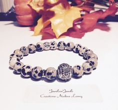 Dalmatian Jasper Bracelet//Jasper by JewelzonJewelz on Etsy