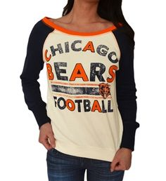 Chicago Bears boat neck, vintage white sweatshirt