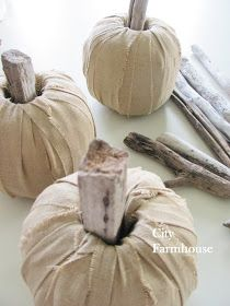 City Farmhouse: DIY Linen Driftwood Pumpkins