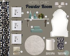 A hotel chic powder room in turquoise, navy, and cream. Bathroom Inspiration, Bathroom Ideas, Bath Ideas, Small Bathroom, Design Inspiration, Design Ideas, Home Decor Bedroom, Living Room Decor, Brown Couch Living Room