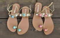 Gem Women Flat Sandals with Toe Loop....