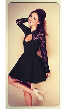 2ef6d48380 Sexy Backless Hollow out Lace Spliced Long Sleeve Skater Dress Lace Dress  Black