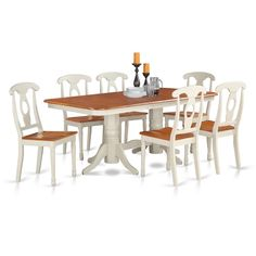 Buttermilk/Cherry Rubberwood 7-Piece Dining Set With Napoleon Table and 6 Kenley Chairs