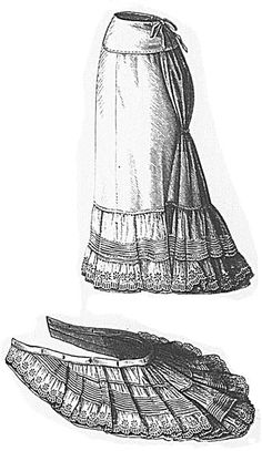 Shirting short petticoat with detachable train from Magyar Bazár 1880