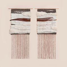 """brook & lyn. Palm Tree Bark Pair 18"""" x 38 each"""" Palm tree bark and yarn on copper $1600 Available at Mohawk General Store"""